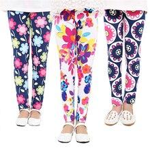 Зимние вельветовые утепленные леггинсы для девочек, штаны осенние обтягивающие теплые брюки с цветочным принтом для девочек Одежда для детей от 3 до 8 лет