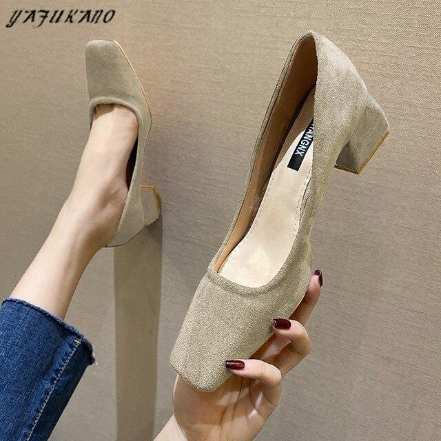 Туфли женские на среднем каблуке простые удобные замшевые туфли-лодочки 3