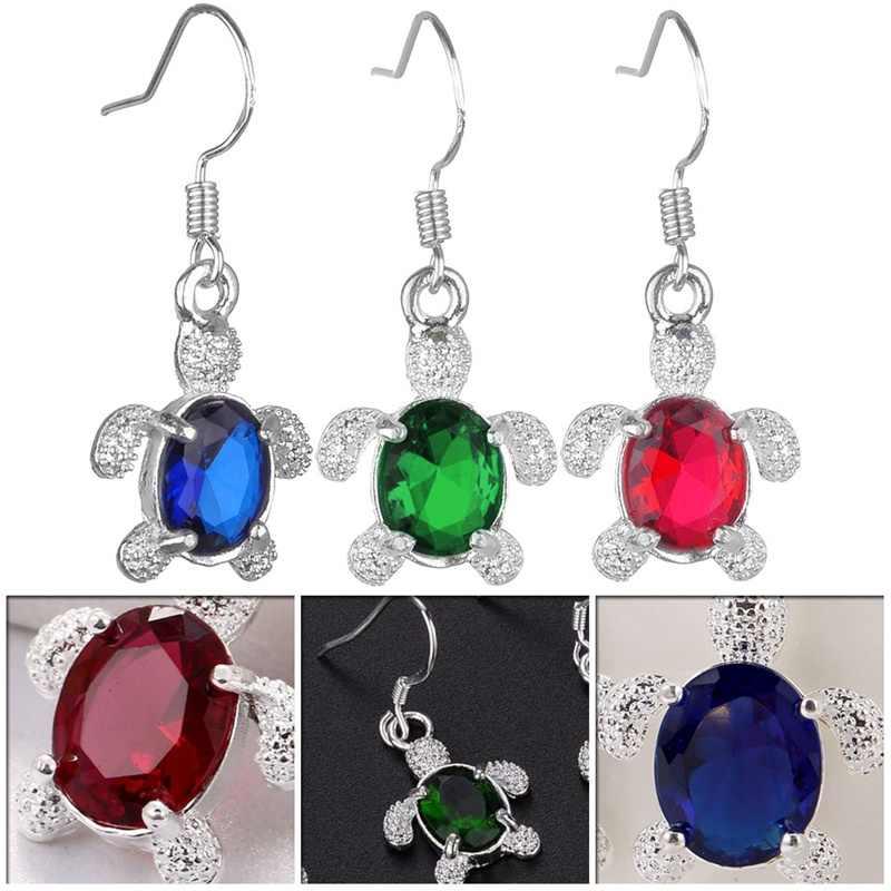 1 пара, женские красные, синие, зеленые серьги-гвоздики с украшением в виде черепахи, ювелирные изделия, Двойные серьги для женщин, Декор