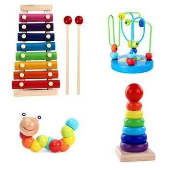 Montessori Wooden Toys Childhood Learning Toy Children Kids Baby Colorful Wooden Blocks Enlightenment Educational Toy baby toy kids montessori fish puzzle animal panel toys for children wooden early childhood education preschool training learning