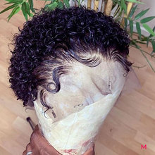 Lace Wig Short-Bob Human-Hair T-Part Doores Curly Pixie-Cut Pre-Plucked Black 4x1 13x1