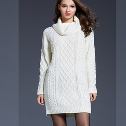 WOMENS Warm Casual Knitwear Autumn And Winter New Style Large Size Loose High Collar Long Turtleneck Solid Elegant Sweater