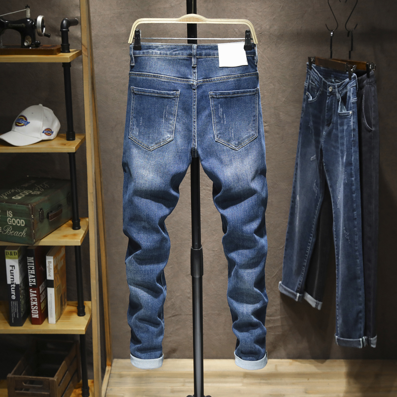 Dark Blue Jeans Men Skinny Fit Stretch Spring and Autumn Denim Pants Casual Slim Jeans Pencils Man