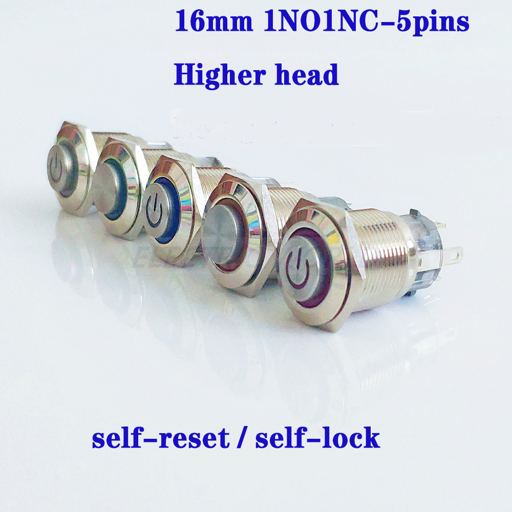 16mm Metal Button <font><b>Switch</b></font> Panel Hole Power Push Button momentary button higher Head 5pins <font><b>LED</b></font> light Self-Reset waterproof <font><b>switch</b></font> image