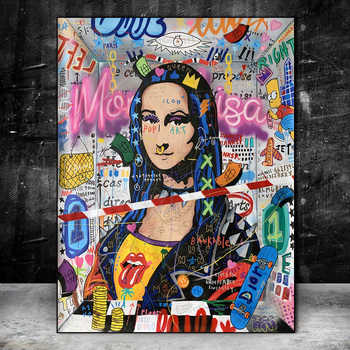 Graffiti Art Mona Lisa Modern Abstract Paintings Printed on Canvas 2