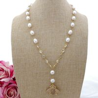 K082106 22 White Rice Pearl Necklace Cz Pave Bee Pendant