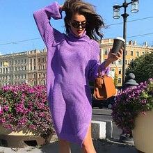 ALLNeon Elegant Purple Turtlrneck Asymmetric Midi Dresses Loose Knitting Long Jersey High Neck Hem Slit Ladies Sweater Dresses