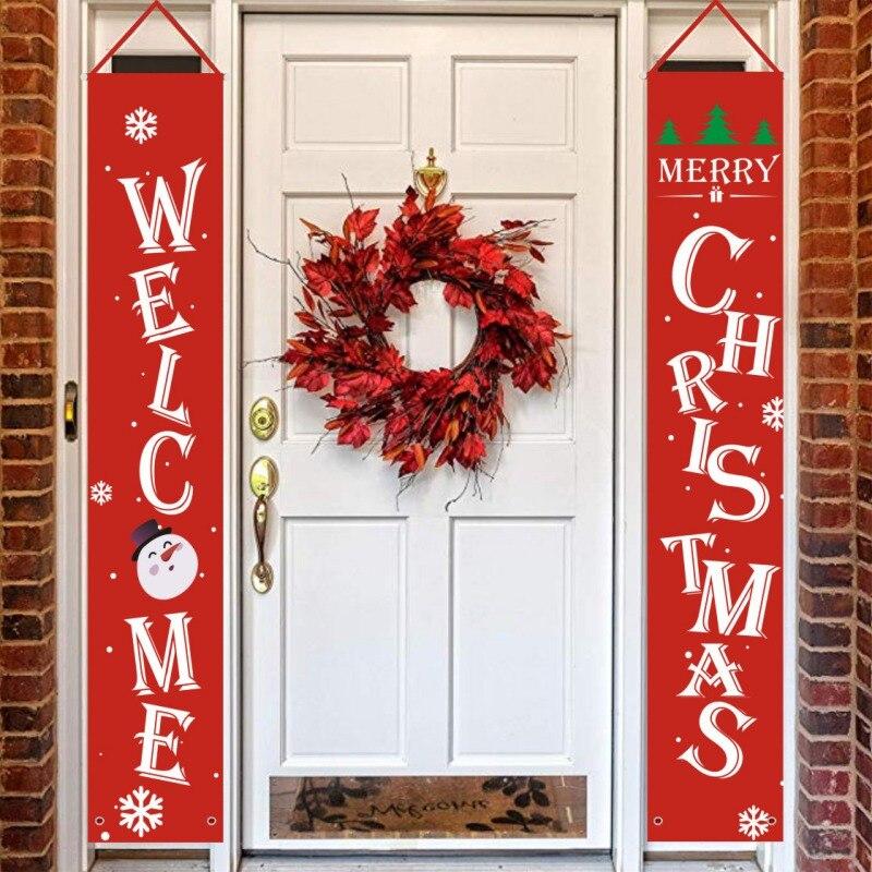 Merry Christmas Decorations Hanging Banner Sign For Indoor Outdoor Door Display Xmas