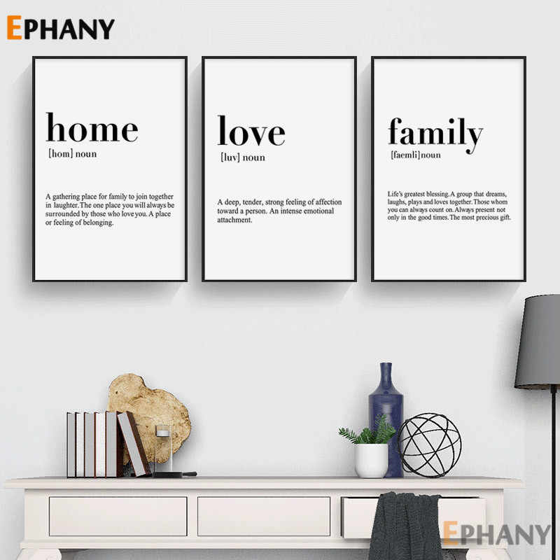 love family home definition simple quotes wall art canvas poster