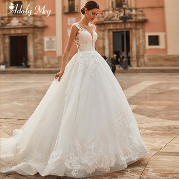Adoly Mey Design Romantic Scoop Neck Backless A-Line Wedding Dress 2020 Luxury Beading Appliques Cap Sleeve Vintage Bridal Gown