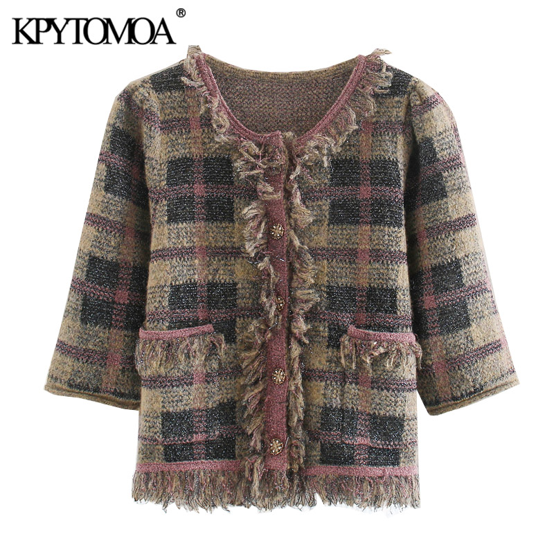 KPYTOMOA Women 2020 Fashion Frayed Check Knitted Jacket Coat Vintage Short Sleeve Gem Buttons Plaid Female Outerwear Chic Tops