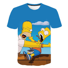 The Simpsons and mother father happy funny t shirt Boys 3D printed t-shirts Short sleeve Harajuku style tshirt streetwear tops