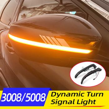 Płynąca woda migacz LED dynamiczny kierunkowskaz lusterko wsteczne wskaźnik światła dla Peugeot 3008 5008 2016 17 18 19 2020 akcesoria tanie i dobre opinie NONE CN (pochodzenie) Klimatyczna lampa