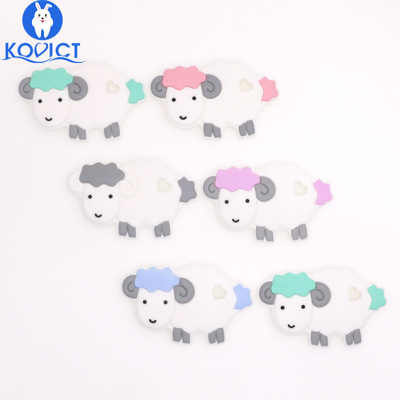 Kovict Sheep  Baby Silicone Teether Rodent BPA Food Free Silicone Teething Nursing Pacifier Clip Silicone Beads