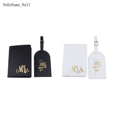 Mr Mrs Leather Passport Case Holder with Luggage Tags Travel ID Credit Card Protector for Women Couples