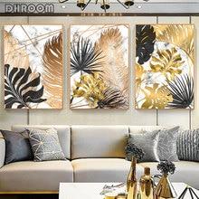 Plantas nórdicas hoja dorada lienzo pintura carteles botánicos e impresión abstracta pared arte cuadros para la decoración moderna de la sala de estar