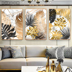 Nordic Plants Golden Leaf Canvas Painting Botanical Posters and Print Abstract Wall Art Pictures for Living Room Modern Decor