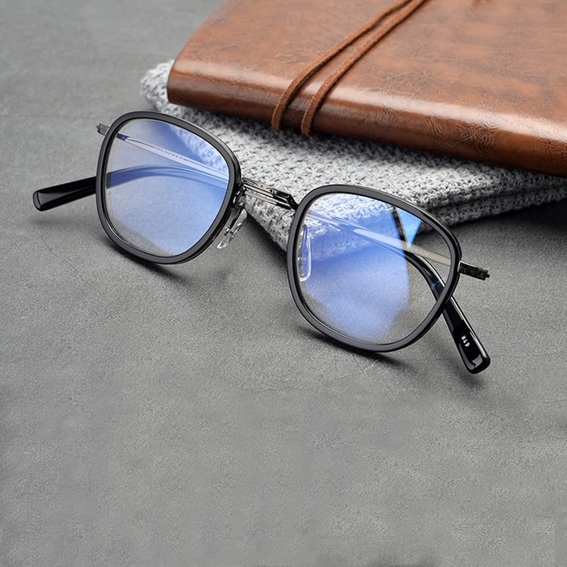 Hand-made Titanium Acetate Unisex Eyeglasses Optical Prescription Square Glasses Frame  For Men Women Lightweight Oculos De Grau