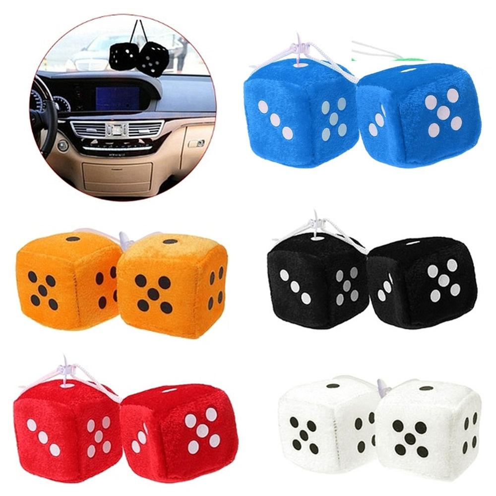 New 2Pcs/Pair Fuzzy Dice Dots Rear View Mirror Hanger Decoration Car Styling Accessories Hanging Suspension Ornaments Desk Home