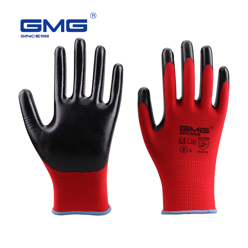 Hot Sale GMG CE Certificated EN388 Red Polyester Black Smooth Nitrile Safety Work Gloves Protective Gloves Working Gloves