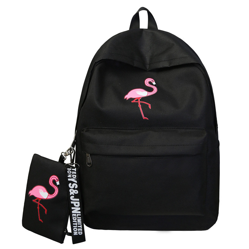 Harajuku School Bag Female Korean Version Of Ulzzang High School Students Flamingo Print Campus College Wind Canvas Backpack