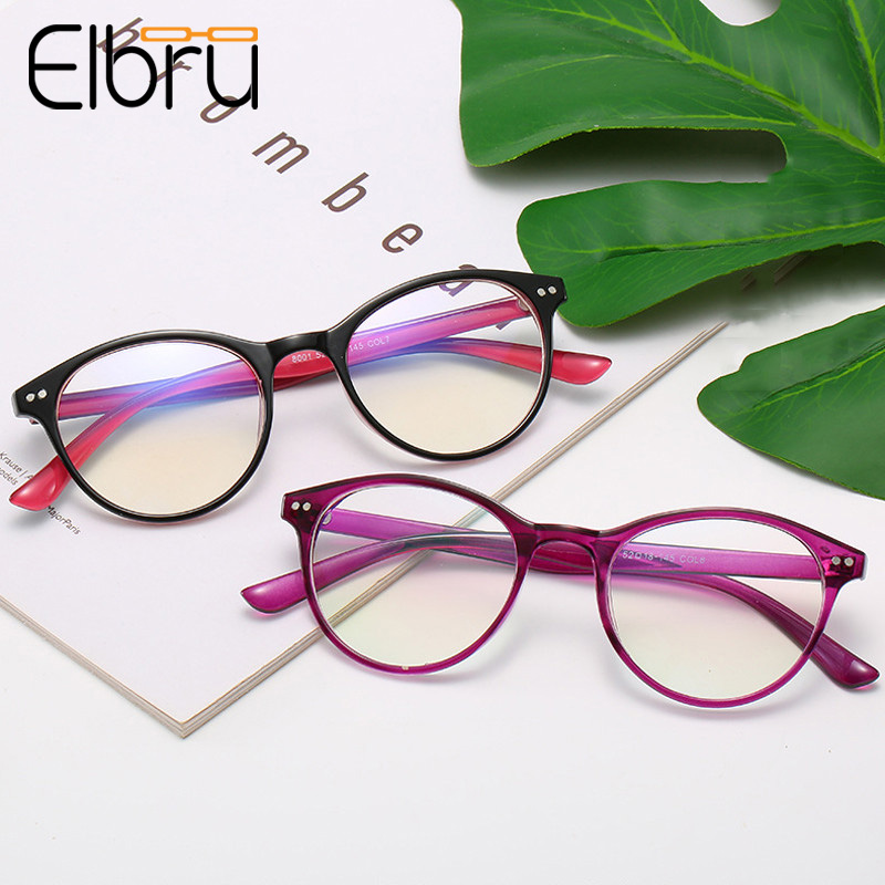 Elbru Ultralight Oval Full Frame Myopia <font><b>Glasses</b></font> Women Retro Floral Optical Shortsighted <font><b>Glasses</b></font> -0.5 -<font><b>1.0</b></font> -1.5 -2.0 -2.5to-6.0 image