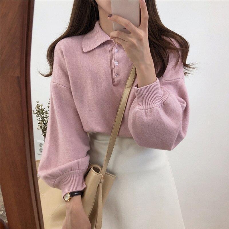 Women's Winter Knit Pullovers Sweaters Korean Long Lantern Sleeve Turn Down Collar Female Sweater 2019 Autumn Fashion Top Woman