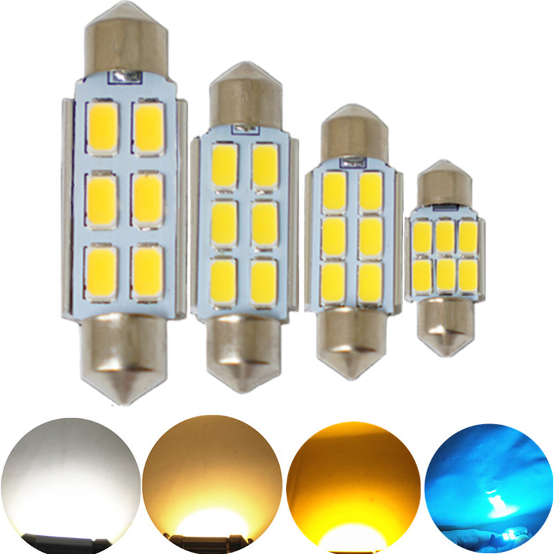 JGAUT 1PCS CANBUS Warm White Yellow 31MM 36MM 39MM 41MM 12V 6SMD LED Festoon Dome,license plate,roof,glove box lighting interior