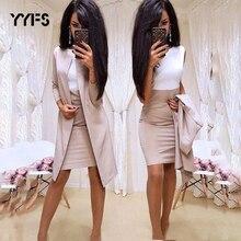 Длинный блейзер, куртки, облегающее мини-платье с круглым вырезом, сексуальное торжественное платье, костюмы, Женская офисная одежда, женские комплекты из 2 предметов, vestido, официальная женская одежда