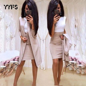 Long Blazer Jackets Sheath O-Neck Mini Dress Sexy Formal Dress Suits Women office wear 2 Piece Female Sets vestido formal mujer