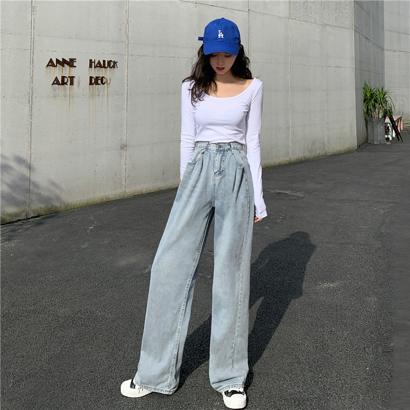 Milinsus Light Blue High Waist Jeans Women Wide Leg Loose Casual Woman Mom Jeans Korean Clothes Slim Trousers Autumn 2019