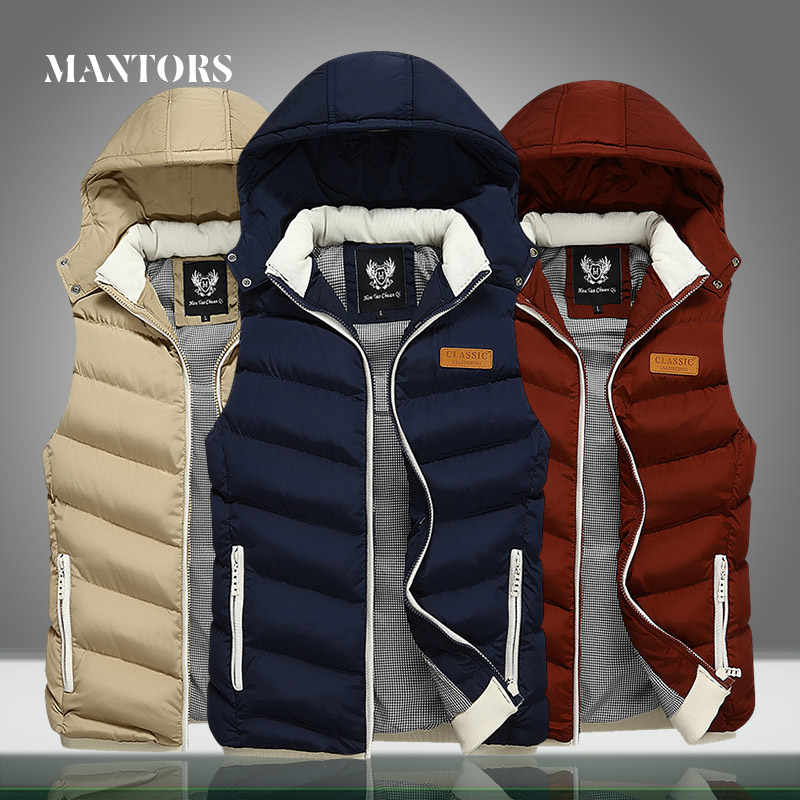 2019 Winter Men Sleeveless Jackets New Male Casual Vest Outwear Coats Men's Warm Thick Solid Hooded Waistcoat Jacket Slim Fit