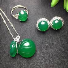 925 Silver Natural Agate Green Jade Three-piece Pendant Woman(China)