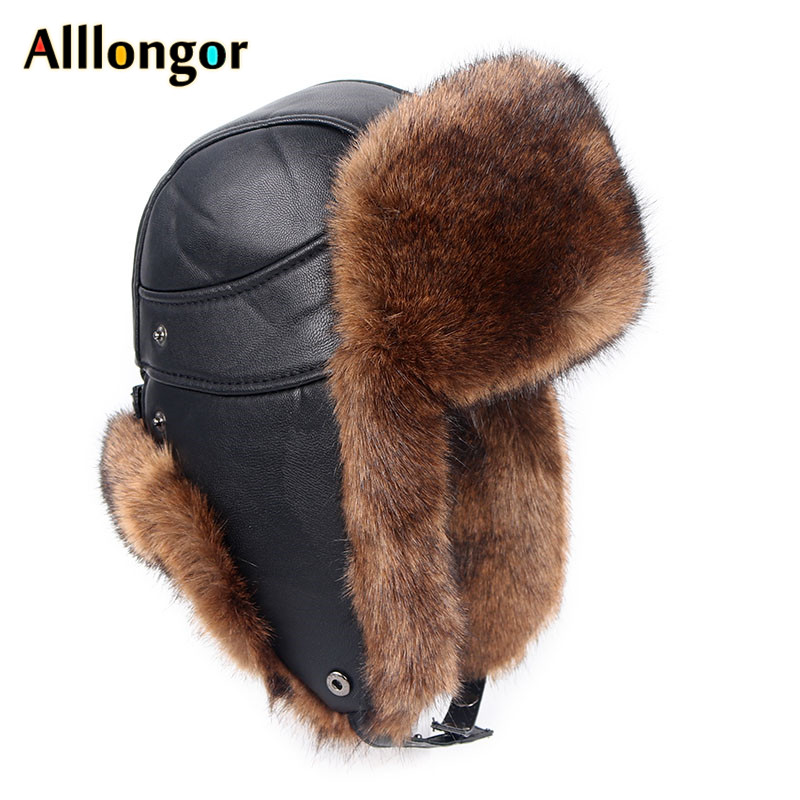 Russia Winter Ear Flaps Faux Fox Fur Hats Men Leather Snow Soviet Cap Russian Bomber Ushanka Pilot Hat Trapper Gorro Ruso Hombre