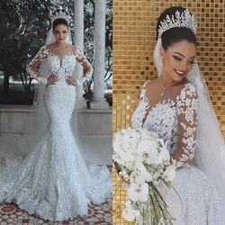 Роскошное свадебное платье в стиле русалки из Саудовской Аравии, сексуальное платье с длинным рукавом, свадебные платья с кристаллами, свад...