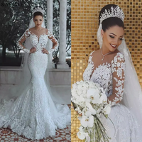 Luxury Dubai Saudi Arabic Lace Mermaid Wedding Dress Sexy Illusion Long Sleeve Bride Dresses Crystals Beads Wedding Gowns
