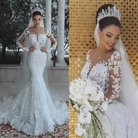 Luxury Dubai Saudi Arabic Lace Mermaid Wedding Dress Sexy Illusion Long Sleeve Bride Dresses Crystals Beads Wedding Gowns