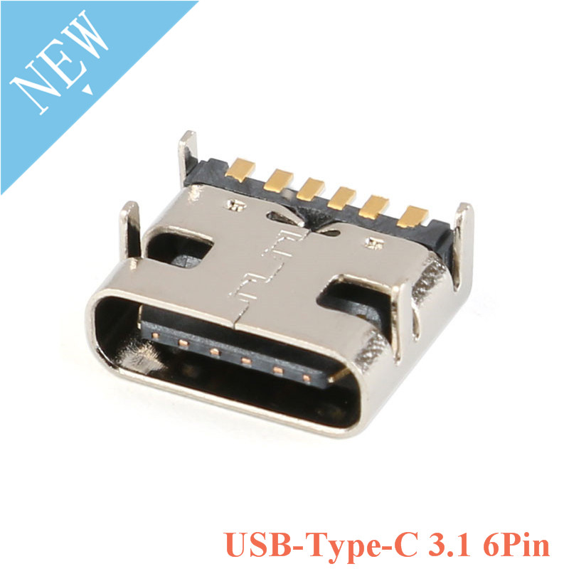 10pcs USB Type C 3.1 Female 6Pin SMT Socket Connector Micro <font><b>6</b></font> Pin Placement <font><b>SMD</b></font> DIP For <font><b>PCB</b></font> design DIY high current charging 6P image