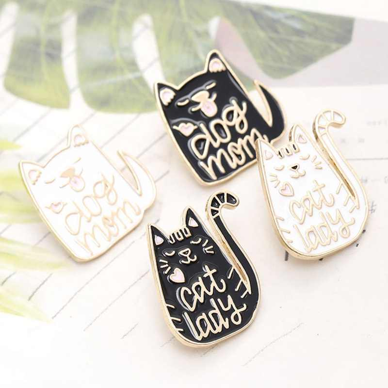 Black White Dog Cat Enamel Pin Dog Mom Brooches Bag Clothes Lapel Badge Cute Cartoon Animal Jewelry Mothers Day Gift