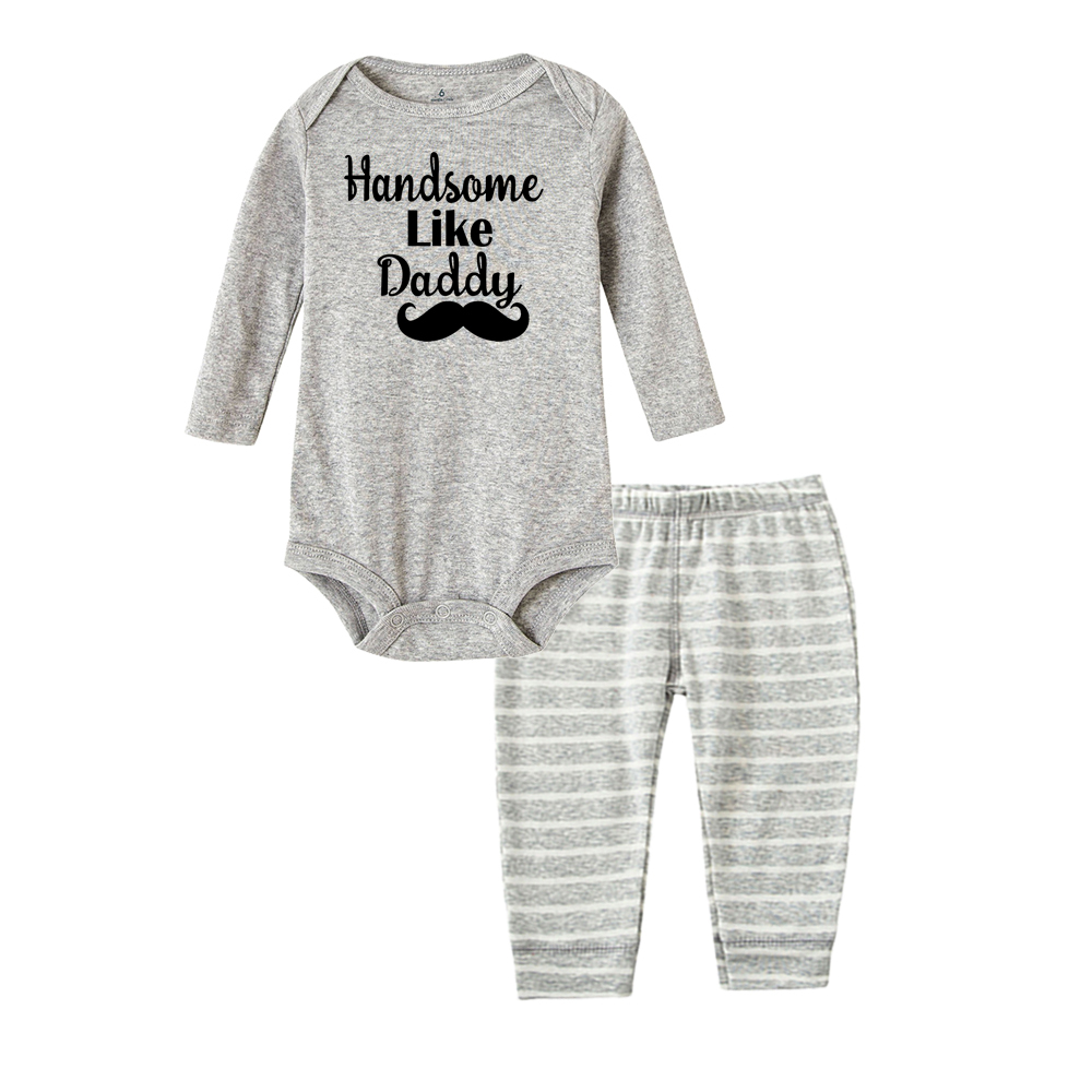 2PCS Newborn Infant Baby Boys Girls Romper Tops+Long Pants Outfits Clothes Set
