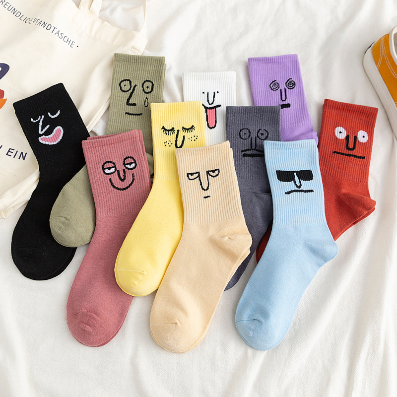 Unisex Surprise Mid Men Socks Harajuku Colorful Funny Socks Men 100 Cotton 1 Pair Kawaii Size 35-42
