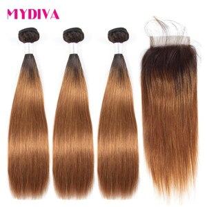 Mydiva brazylijski włosy wyplata wiązki z zamknięciem prosto Ombre brązowy człowieka wiązki włosów z zamknięciem nie Remy włosy T1B/30 3 sztuk