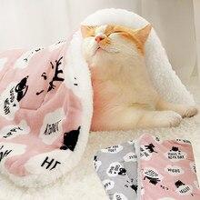 Cama de lã para animais de estimação, almofada dobrável para inverno, macia e quente, para animais de estimação tapete do gato suprimentos