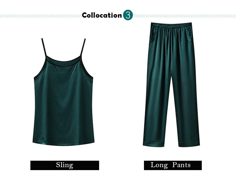H299a312a077847f49a6acb9fc8c5b787L JULY'S SONG 7 Piece Women Pajamas Set Stain Soft Pyjama Spring Summer Female Nightwear Solid Faux Silk Shorts Homewear 2020