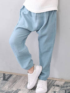 Kids Trousers Sweatpants Linen Pleated Baby-Boys-Girls Cotton Children Summer Harem Breathable