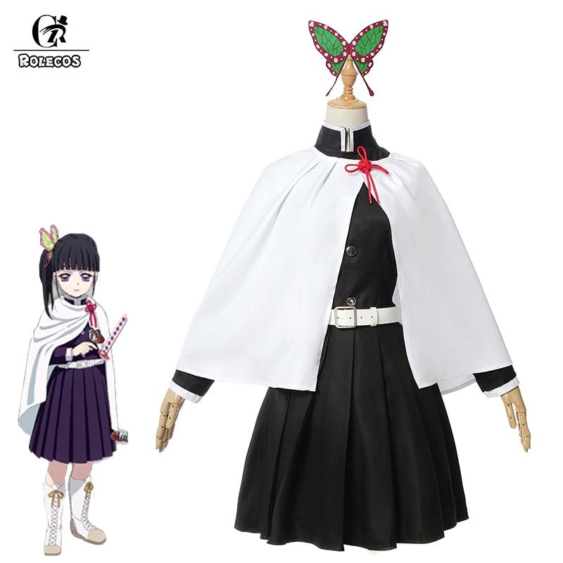 ROLECOS Anime Demon Slayer Cosplay Costume Tsuyuri Kanawo Kimetsu No Yaiba Cosplay Costume Women Black Dress White Kimono Suit