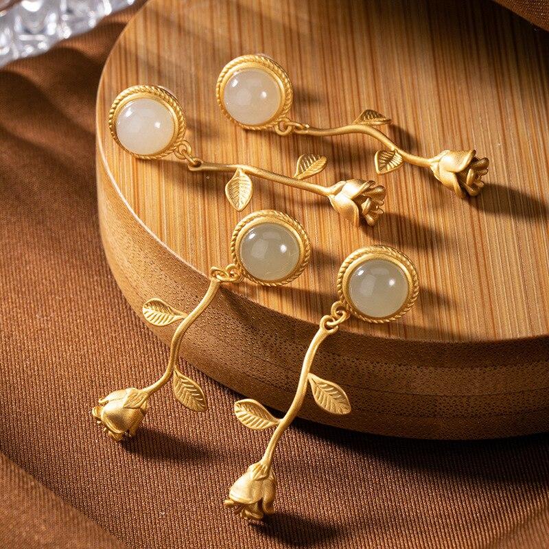 2020 nouvelle mode S925 pur argent Hetian jade blanc jade saphir couleur dorée haute qualité personnalisé Rose dame boucles d'oreilles