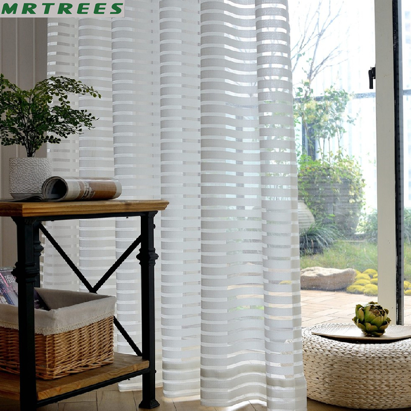 Striped Sheer Curtains For Living Room Home Decorations Modern Tulle Curtain for Bedroom Shower  Window Drapes