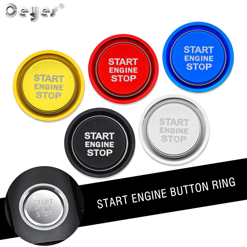Red Ceyes Car Engine Start Stop Push Button Auto Ignition Start Button Cover Engine Power Ignition Switch Button Auto Switch Button Cover Ignition Key Cover Stickers for Audi A6 A6L//C7 2011-2017