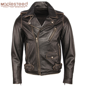 Image 1 - בציר אופנוע מעיל גברים מעילי עור עבה 100% עור פרה אמיתי עור מעיל חורף אופנוען Moto בגדי M456